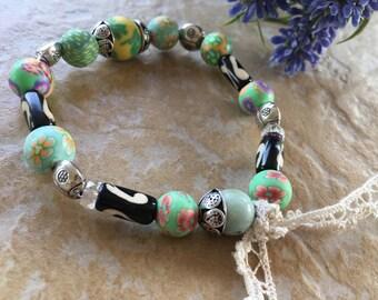 soft green ethnic romantic bracelet