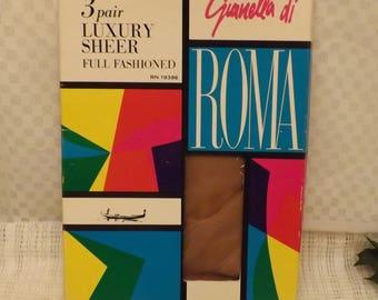 1960's di Roma Back Seam Pin Up Girl Nylons Luxury Sheer Size 10