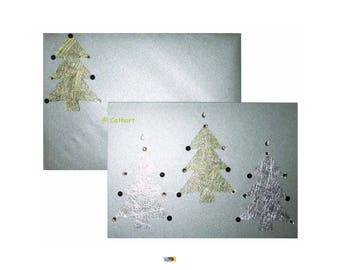 """Card double Art """"3 gold and silver trees"""" and rhinestones on metallic silver card"""