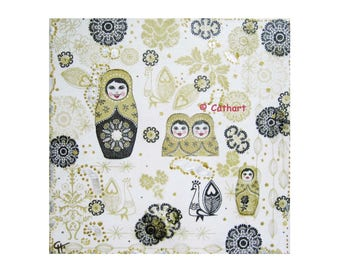 "Canvas ""Matryoshka"" gold, black and white with silver ink decor metallic"