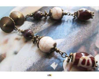 "Earring ""Pearl decorated Tibetan agate (DZI) chocolate jade and howlite"" on antique bronze"