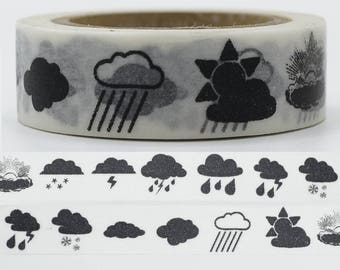 SALE!!Black and white weather Washi Tape/Deco Masking Tape/Planner Sticker/ Scrapbook Tape/Sweet Baby washi tape TZ2156