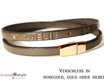 Leather Bracelet with leather compose article 198-rose