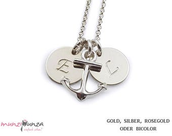Initial chain anchor gold plated 925 silver art. 209-B