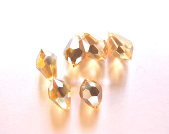 6 6/12 MM CHAMPAGNE GLASS FACETED DROPS