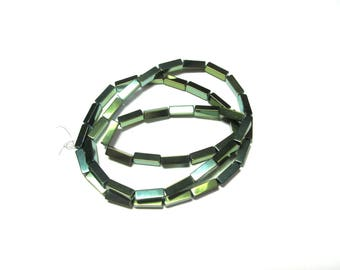 8 DARK GREEN GLASS TUBE BEADS MORDORE SMOOTH 3MM WIDE 9MM LENGTH