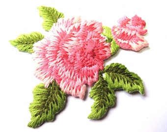 FLOWER THREAD MOULINE PINK GREEN EMBROIDERED 70/80 MM HOTFIX TRANSFER
