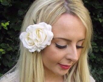 Double Cream Rose Flower Hair Clip Rockabilly 1950s Bridesmaid Fascinator 3477