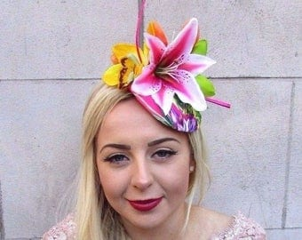 Hot Pink Tropical Orchid Lily Flower Feather Fascinator Hat Hair Clip Races 4716