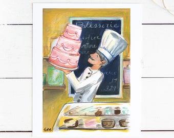 Art Print: Bakery Illustration / Original Drawing Art Print / Children's Art / 8x10