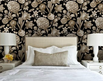 Botanical Toile / Ebony Peel 'n Stick Wallpaper Custom Lengths to 15 feet