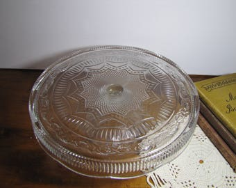 Vintage Glass Cake Stand - Star and Diamond Pattern - Floral Band - Skirted Plate - Ribbed Pedestal