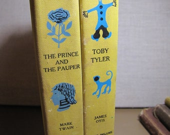 Two (2) Vintage Children's Books - Junior Deluxe Editions - The Prince and the Pauper - Toby Tyler