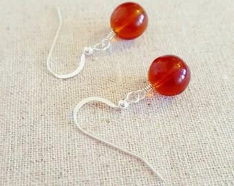 Amber Earrings - Amber Dangle Earrings - Amber Silver Earrings - Amber Drop Earrings - Amber Glass Earrings - Sterling Silver Earrings - uk
