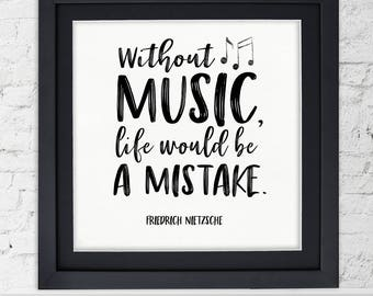 Inspirational Quotes About Music And Life Amusing Music Quote Print  Etsy