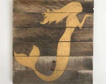 Metallic Mermaid Sign // Custom // Gifts for Her // Gifts for Him // Wedding // Pallet // Mermaid // Beach // Bay // Gold // Nautical
