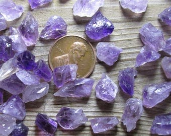 Tiny Amethyst Crystal Shards- 8mm to 15mm (1/3 inch to 5/8 inches) Broken, chipped or flawed raw amethyst mini-crystals- Lots of 10 or 25