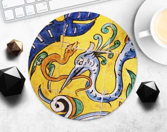 MousePad Azulejo Mouse Pad Portugal Print MouseMat Round Portuguese Tiles MousePad Style Fabric Rectangular Mouse Mat Mice Desk Accessories