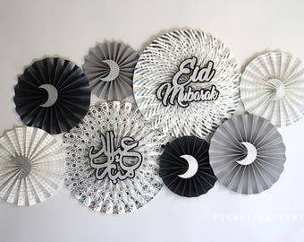 Silver and Black Eid Decor, Eid Decorations, Eid Paper Fans, Ramadan, Happy Eid, Eid Celebration, Eid Mubarak, Islamic Decor