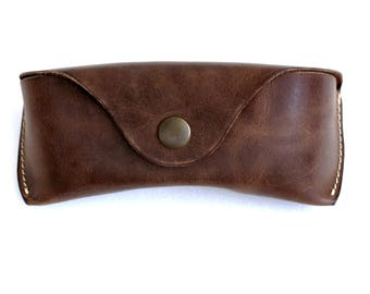 Glasses case  for Wayfarers Clubmasters Sunglasses soft case waxed leather espresso brown  Handmade by Celyfos®