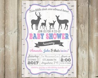 Deer Twins Baby Shower Invitation - Co-ed Baby Shower Invite - DIGITAL FILE