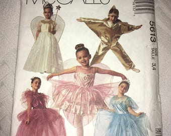Clearance SALE - Uncut McCalls 5613 Faerie Queen/Princess Child Sizes 3,4 year 1991 - Tinkerbell, Star, Leslie Hall, Fairy Wings, etc