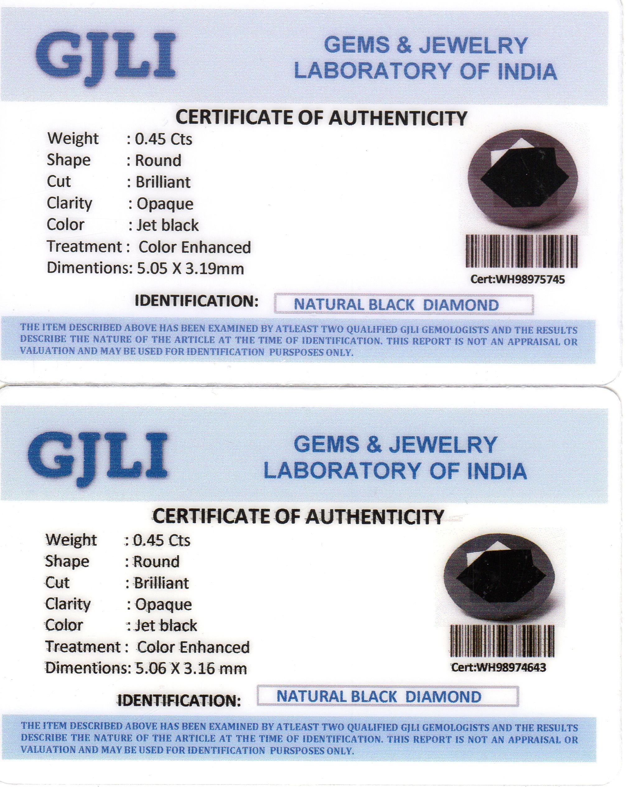 0 90tcw 5 0mm Natural Black Diamond Stud Earrings Certified