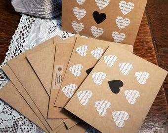 Book Page Heart Note Cards, Blank Note Cards, Heart Note Cards, Book Note Cards, Handmade Note Cards, Set of Four, MarjorieMae