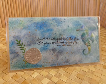 "Checkbook holder - Ocean themed with seahorse and sand dollar: ""Smell the sea and feel the sky, Let your soul and spirit fly"""