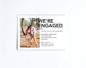 Engagement Party Photo Invitation - We're Engaged - Modern Minimal - Printable DIGITAL FILE