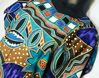 Vintage Funky Colorful Abstract Print Blouse Size 1X