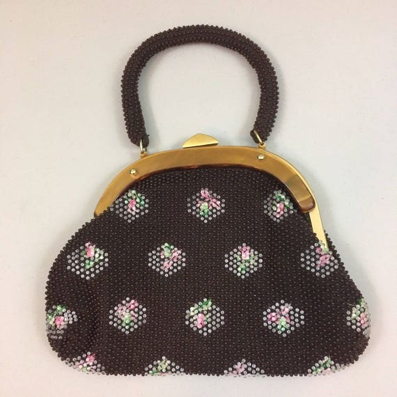 Sweetest Brown Beaded Bag by Stylecraft Miami