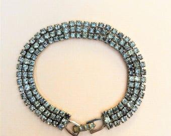 Vintage Rhinestone Bracelet Costume Jewelry 1950s