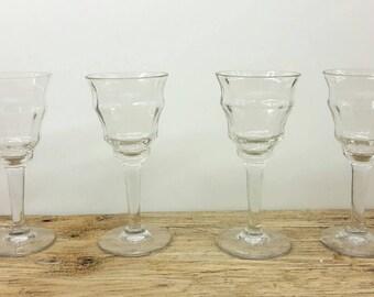 "4 antique small wine port glasses - 19th century - handmade blown Biedermeier Height 14 cm / 5.5"""