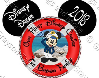 POPULAR!!  Extra Large Personalized Our First Disney Cruise Life Preserver Door Magnet
