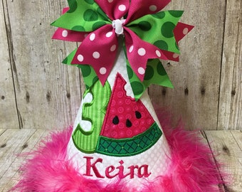 Watermelon Birthday Hat, Watermelon Party Hat, Customize Birthday Hat,  Watermelon Birthday Party Decoration, Girl Watermelon Birthday Hat