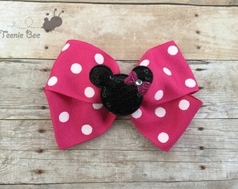 Minnie Mouse Hair Bow Pink - Disney Hair Bow - Minnie Mouse Bow - Baby Disney - Disney Bows - Dark Pink Minnie Hair Bow - Minnie Birthday