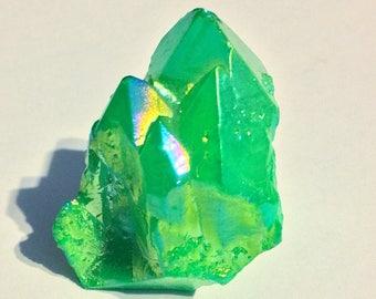 Titanium Coated Green Aura Quartz Crystal
