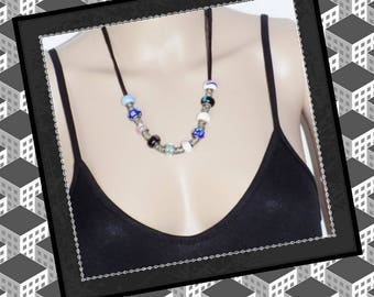 """Original necklace """"BETAN"""" beads with glass and silver 20cm long"""