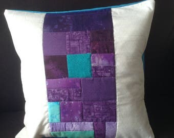 Handmade patchwork cushion cover 35x35cm, purple and white