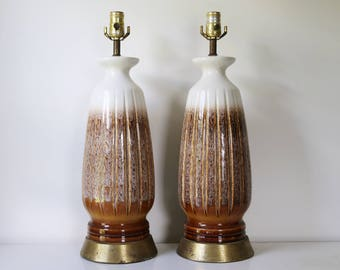 Pair of mid century modern drip glaze white and brown neutral lamps