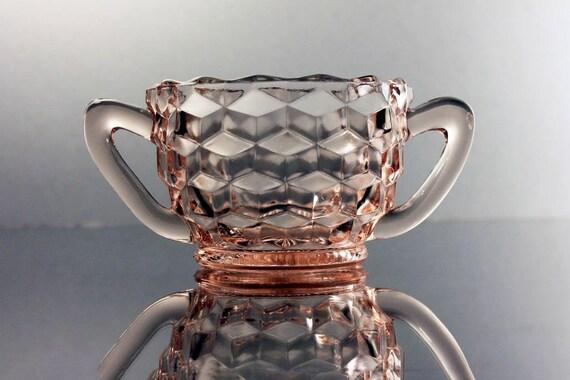 Mini Sugar Bowl, Jeannette Glass, Cube Pink, Depression Glass, Open Sugar Bowl