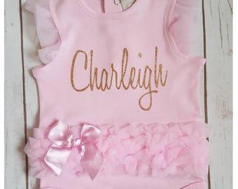 Monogram Onesie, Ruffle Onesie, Girl Onesie, Baby Shower Gift, Take Home Outfit, Girl Onesie, Personalized Onesie, Name Onesie, New Born