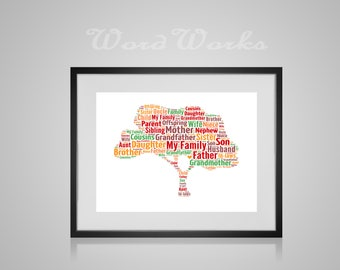 "Personalised Family Tree Word Art **Buy 3 prints get the 4th FREE**  Use coupon code "" MYFREEONE """