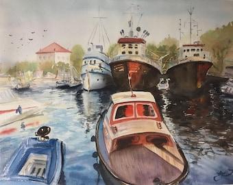 Watercolor port, watercolor boats painting, boats painting, port painting, original watercolor art, gift, modern art, wall art