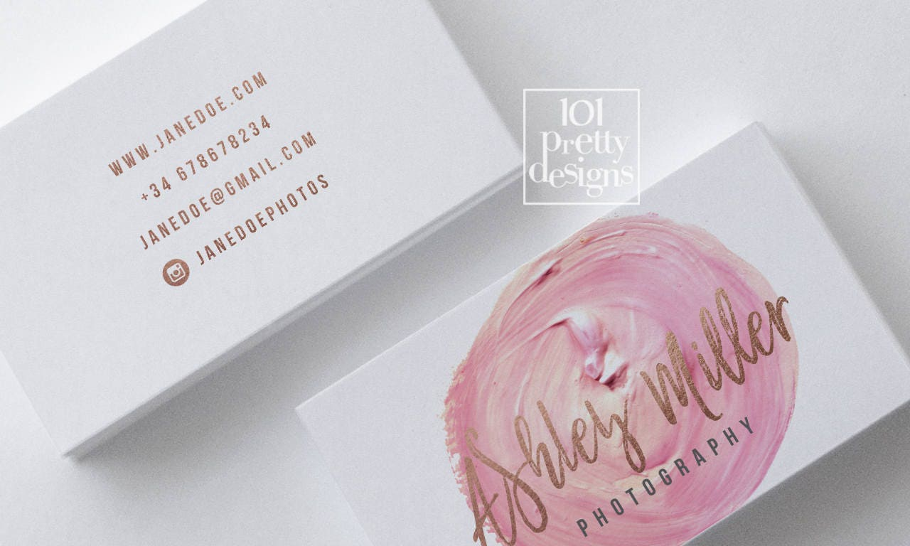 Watercolor business card template rose gold printable business card ...
