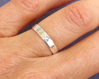 Sterling Silver Ring, Silver Hammered Ring, Silver Band Ring, Silver Stacking Ring