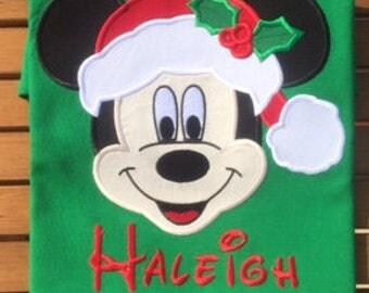 Mickey Santa Christmas Disney Family Shirts MVMCP Disney Christmas Shirts Mickey Minnie Christmas shirts Mickey Shirt Mickey Applique shirt