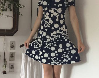 Vintage Dress Polka Dot Circles Blue Marine White 50s 60s