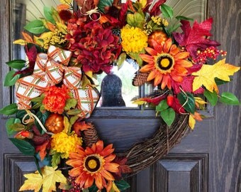 Front Door Fall Wreath | Thanksgiving Wreath | Grapevine Wreath | Fall Decorations | Door Wreaths | Wreaths on Etsy | Etsy Wreaths